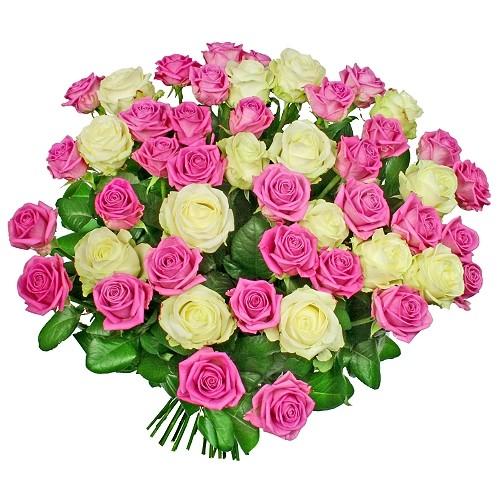 Kwiaty Przepraszam, bukiet biało-różowych róż, 50 białych i różowych róż
