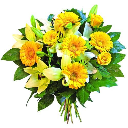 Sunny bouquet, bouquet of yellow flower with greenery, rose hips and lilies in a bouquet