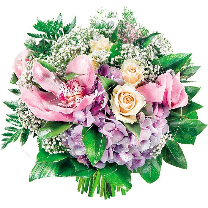 Venus bouquet, pastel flowers, orchid and apple bouquet