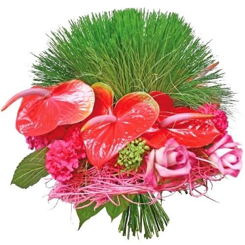 bukiet egzotyczny, anturium, różowe róże, papirus i zieleń dekoracyjna, bukiet różowo zielony