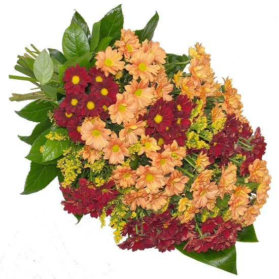 Bunch made of orange margaret, red margaret, solidago, organza, decorative green, funeral bunch