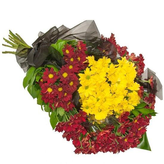 Wiązanka Brzask, wiązanka z margaretek żółtych, margaretek czerwonych, organzy, zieleni dekoracyjnej, wiązanka na pogrzeb
