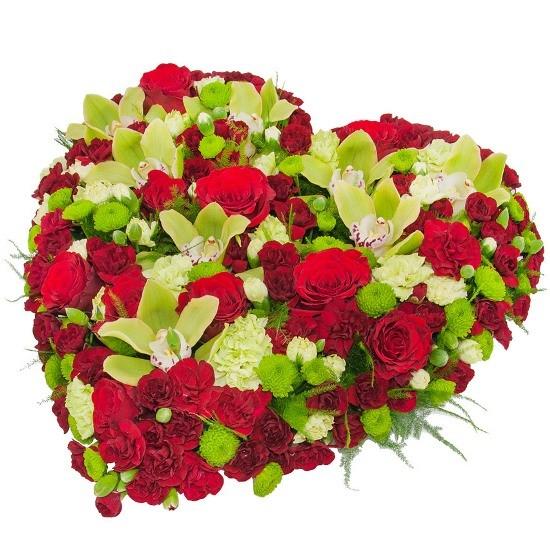 Kompozycja Requiem, kompozycja z goździków mini, róż czerwonych, cymbidium, santini, zieleni dekoracyjnej, kompozycja pogrzebowa