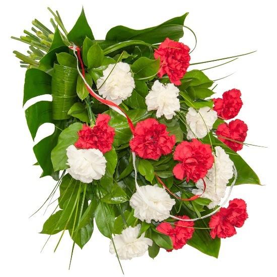 Wiązanka z goździków białych, goździków czerwonych, zieleni dekoracyjnej, Wiązanka Czuwanie, wiązanka pogrzebowa