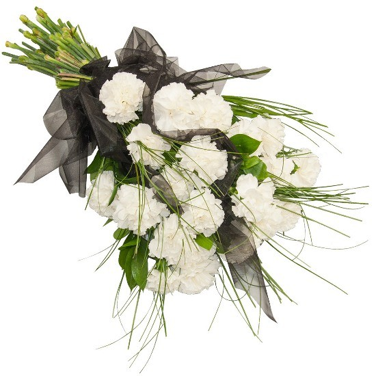 Swan Song bunch, carnation bunch, organza, decorative greenery, cemetery bunch
