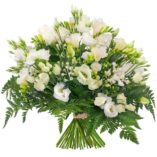 A luminous bouquet, a bouquet of cuvettes, eustoma, freesies, decorative greenery, flowerd for condolences.