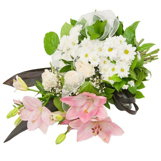Pigeon Bunch , lily bunch, margaretes, cream roses, gypsophila, ribbons, decorative greenery, funeral bunch