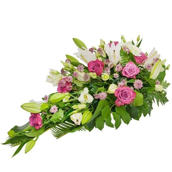 Wiązanka z astrantii, eustom, lilii azjatyckich, róż różowych, zieleni dekoracyjnej, Wiązanka Łuna, wiązanka na pogrzeb