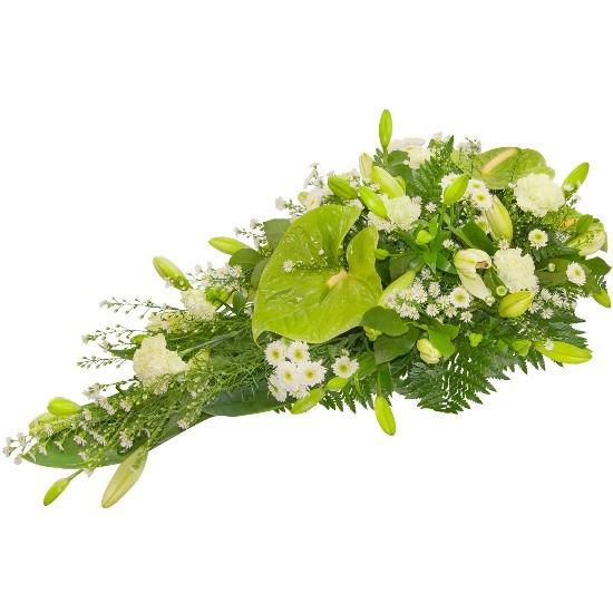Wiązanka Kaganek, wiązanka z anturium, astrów, chryzantem, goździków lilii azjatyckich, zieleni dekoracyjnych, kwiaty na grób
