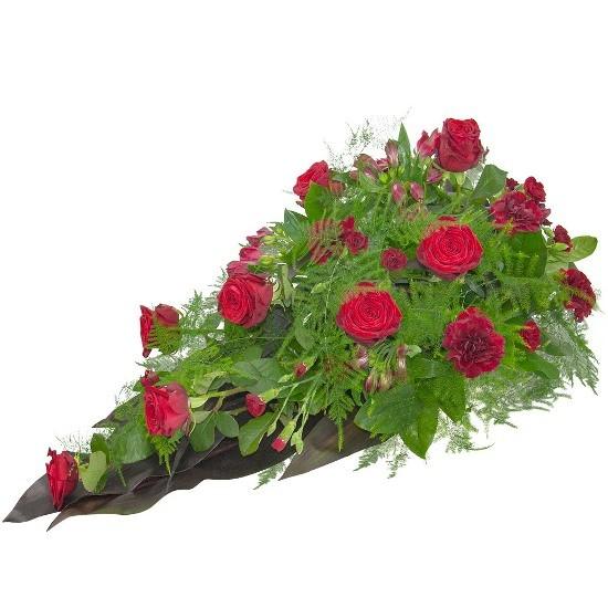 Wiązanka z goździków, róż, alstromerii, goździków mini, zieleni dekoracyjnej, Wiązanka Ognik, kwiaty na pogrzeb