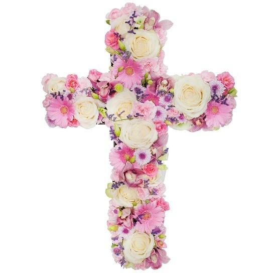 Kompozycja z eustom, cymbidium, mini gerber, mini goździków, róż gałązkowych, róż kremowych, limonium, santini, zieleni dekoracyjnej, Kompozycja Krzyż, kompozycja na pogrzeb