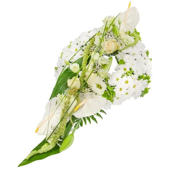 Wiązanka Anielska, wiązanka z antirium, eustom, hortensji, lilii, margaretek, róż białych, gipsówki, zieleni dekoracyjnej