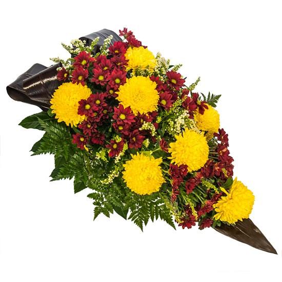 Wiązanka na Wszystkich Świętych, wiązanka na grób z chryzantem bordowych i żółtych, wiązanka na florecie