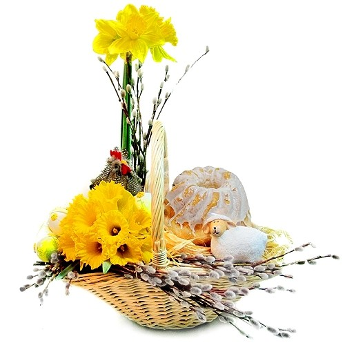 Composition with Easter Grandmother, flowers with cakes for Easter, composition of Easter cake, lambs, hens, eggs, daffodil in a basket