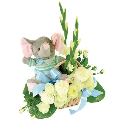Kwiaty dla malucha, kompozycja białych mini róż, białych mini gladiol, zielonej paproci w koszu, maskotka szarego słonika w kolorowej bluzce, Kwiaty dla chłopczyka