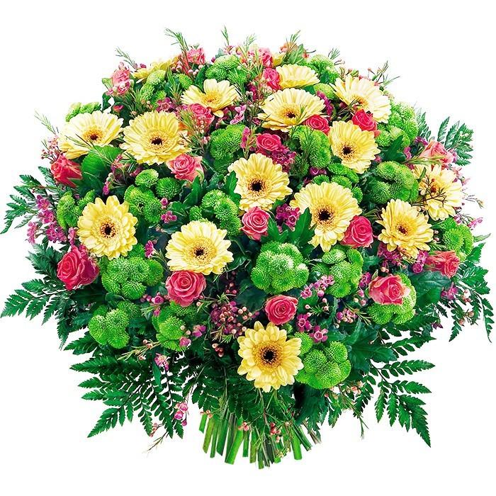 bukiet chwilo trwaj, różowe róże, gerbery, santini, woskowce, zieleń dekoracyjna, bukiet kwiatów żółto różowo zielony