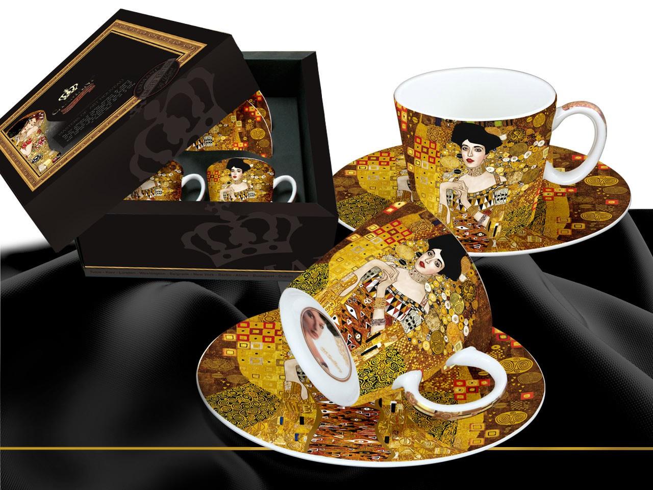 """""""Złota Adela"""" Gustav Klimt, zestaw dwóch filiżanek w czarnym pudełku"""