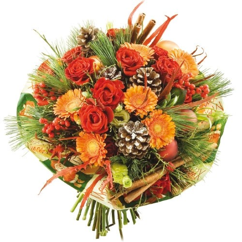 Christmas bouquet, roses, mini gerbera, ilex, pine, cones, baubles and cinnamon with ornate flange