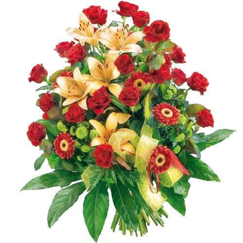 bukiet gratulacyjny, czerwone róże, lilie azjatyckie, gerbery, santini i zieleń dekoracyjna