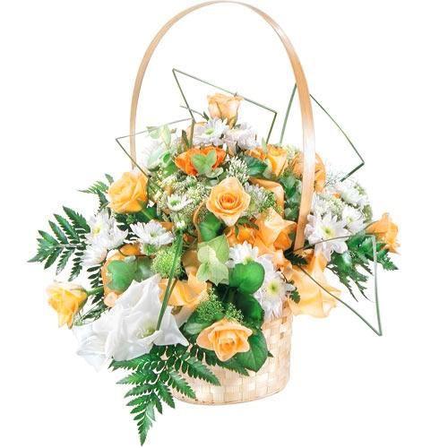 Kompozycja róż i gladiola, kwiaty w koszu, kwiaty na ślub, Kompozycja Radość