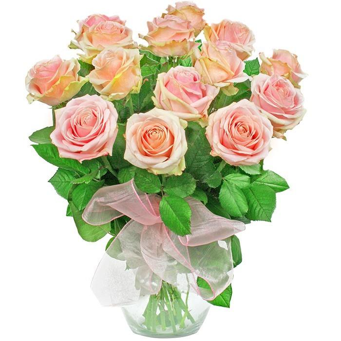 Kompozycja Pastelowa, 15 różowych róż w wazonie, bukiet róż w pastelowym kolorze