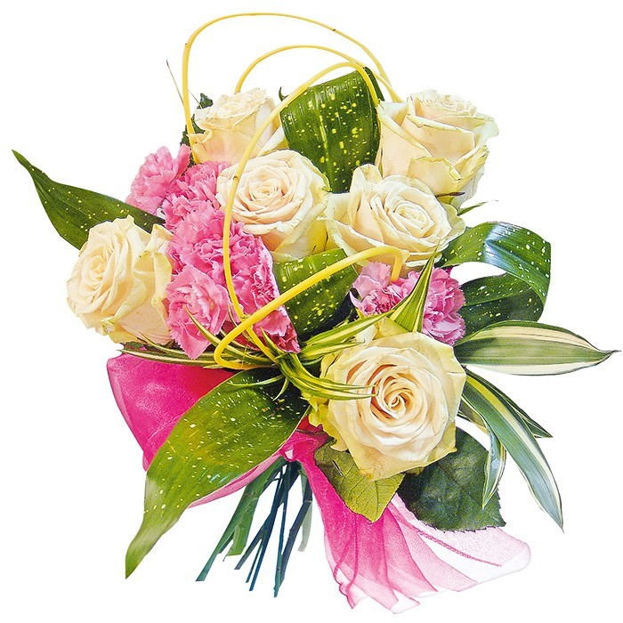 "Bouquet ""Veil"", bouquet of roses and carnations with decorative greenery"