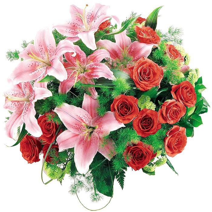 bukiet aplauz, bukiet z różowych lilii i róż, czerwone róże, zieleń dekoracyjna