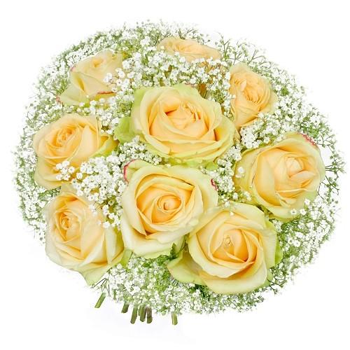 Bukiet Ślubny, kremowe róże z gipsówką w ślubnym bukiecie