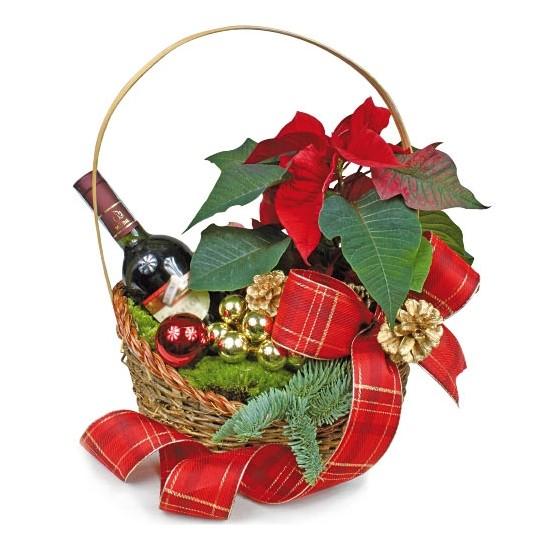 Świąteczny koszyk z winem