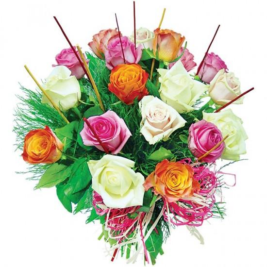 18 kolorowych róż