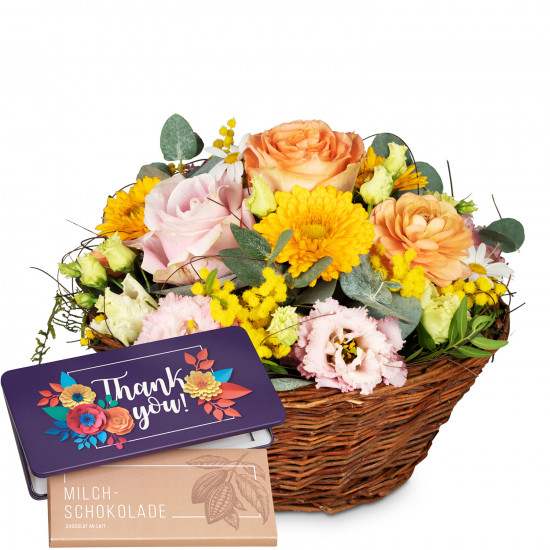 Cheerful Spring Meadow with bar of chocolate «Thank you»