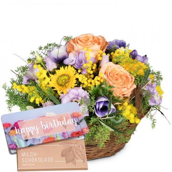 Gift of Spring with bar of chocolate «Happy Birthday»