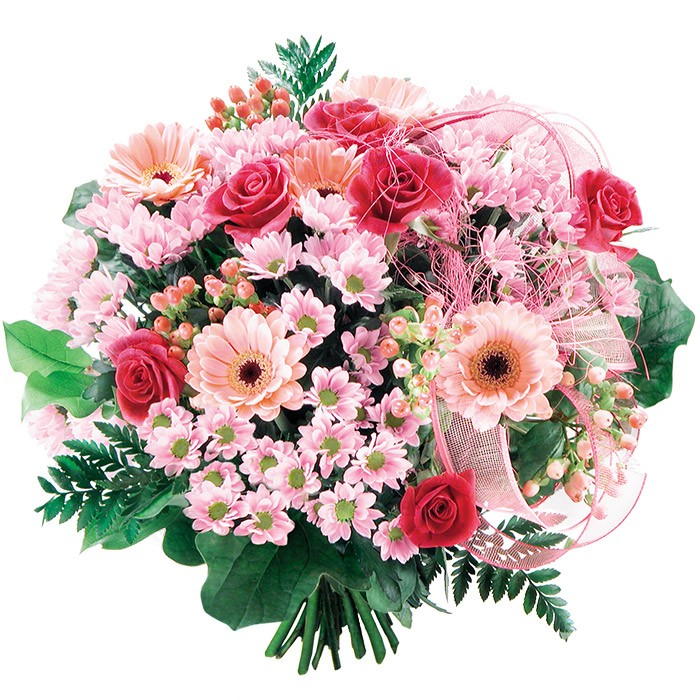 Variety of bouquets with mini pink gerberas, red roses, hipericums, Flowers only you
