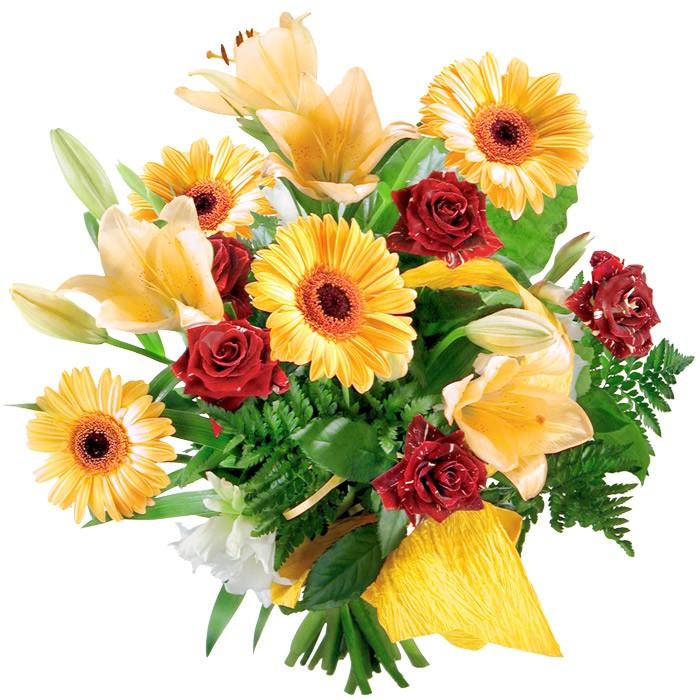 Bukiet żółtych lilii, żółtych gerber, czerwonych róż ze wstążką, bukiet słoneczny, Bukiet promienny