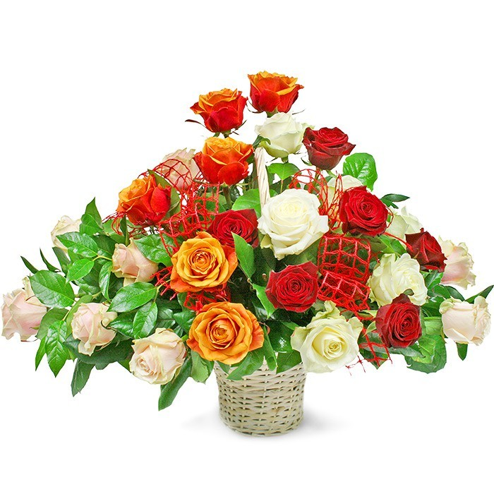 Colourful Composition, coloured roses of different lengths in the basket, composition of 30 coloured roses
