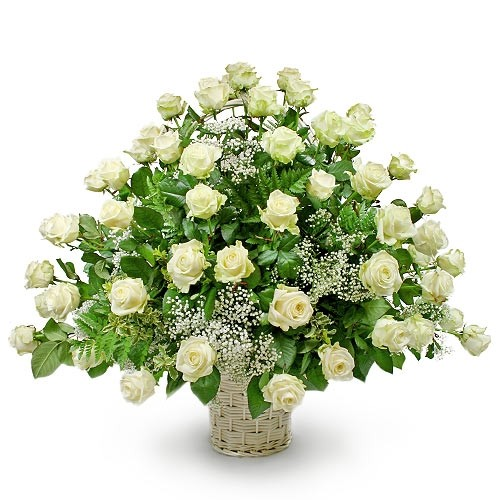 Wedding composition, wedding composition in basket, white roses with gypsophila and decorative greenery in basket