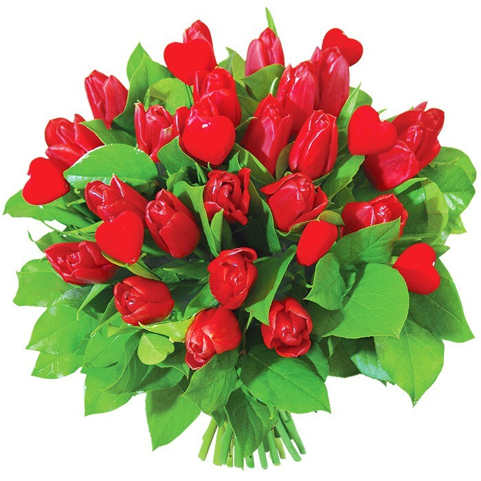 Red tulips, red hearts on a bouquet stick, Bouquet Lovers tulips