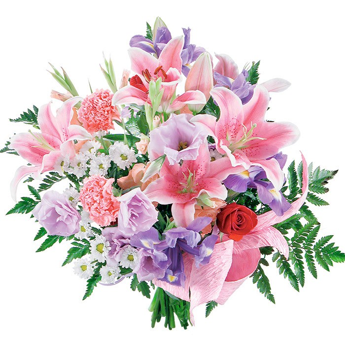 Name day bouquet, bouquet of white lilies, white carnations, red roses, purple irises with delivery.