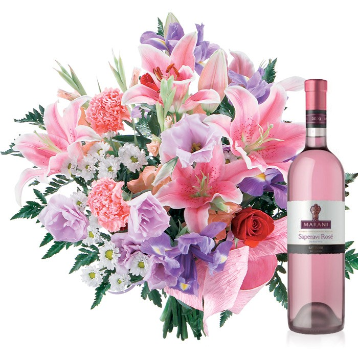 Name day bouquet with wine, pastel coloured flowers, pink bouquet with pink wine