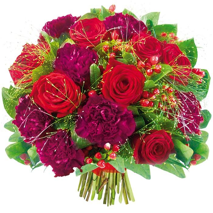 Jesienny bukiet fioletowych goździków i czerwonych róż ze wstążką, kwiaty w bukiecie, Kwiaty Jesienne