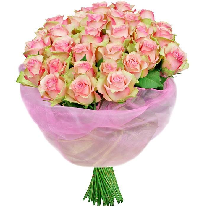 bukiet jutrzenka, bukiet róż, 30 różowych róż, bukiet w różowej organzie