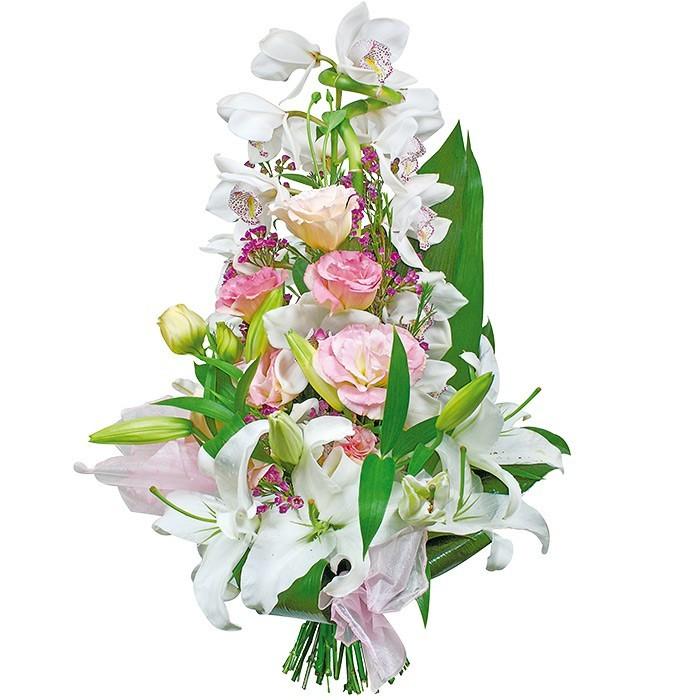 bukiet dyplomata, bukiet z orchidei eustomi i lilii, zieleń dekoracyjna