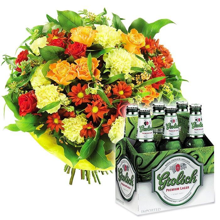 Bukiet z piwem, bukiet kwiatów mieszanych, kolorowe róże i margaretki z zielenią