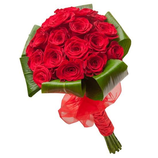 bukiet berło miłości, 21 czerwonych róż związanych wstążką, bukiet miłosny