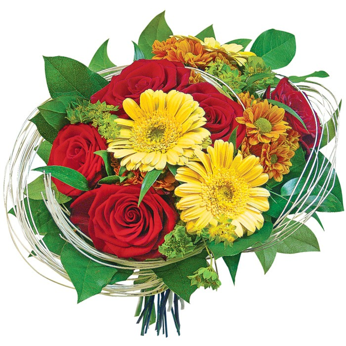 Flowers I love you, red roses, margaretes, griffithii, rattan and yellow gerberas with decorative greenery