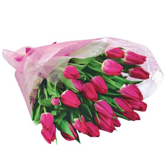 kwiaty moje kochanie, bukiet tulipanów, 25 różowych tulipanów, bukiet w różowej owijce