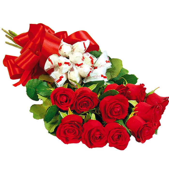 Sweet up, a bouquet of red roses with reefaello, 11 red roses with a ribbon