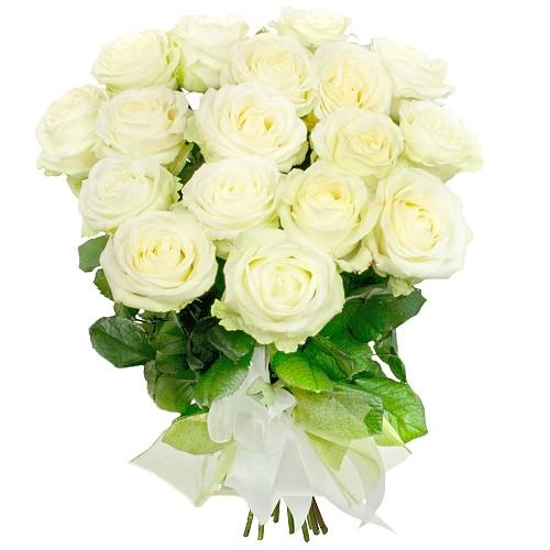 Kompozycja na zawsze razem, 18 białych róż w bukiecie, bukiet białych róż ze wstążką