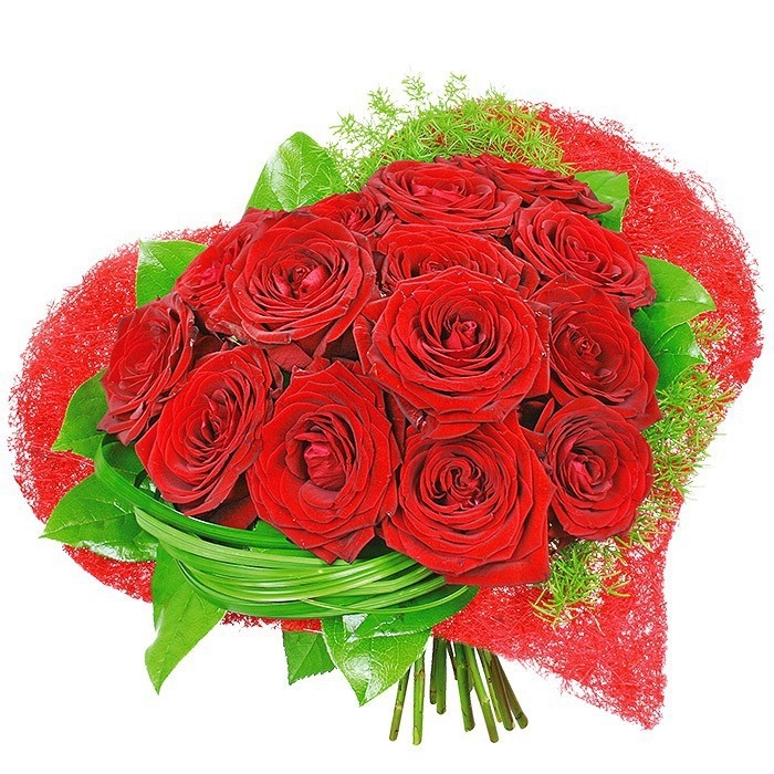 Bouquet passionate moments, 15 red roses with decorative greenery in flange, love bouquet
