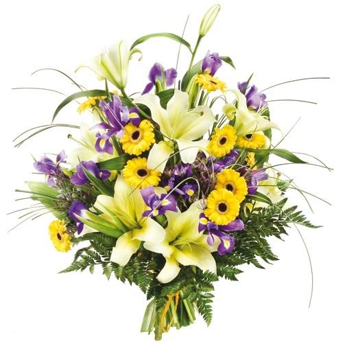 bukiet słoneczna radość, bukiet irysów, lilii, gerberów i zieleni dekoracyjnej
